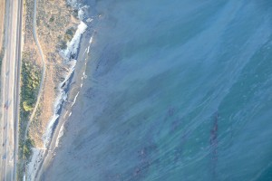 refugio oil spill photo showing oil on top of the water