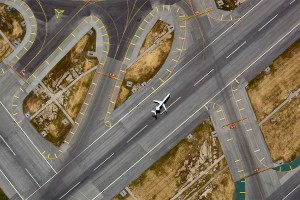 Aerial photo of Runway 26L at SFO