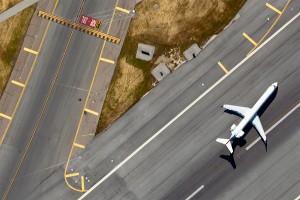 Aerial photo of Runway 26L at SFO
