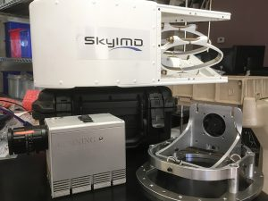 Photo of Corning HSI 410 Microshark Hyperspectral Sensor prior to mounting inside SkyIMD aerial camera platform