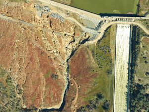 Aerial Image of Oroville Dam, Oroville, Calfornia - Dam Overflow Damage 2017